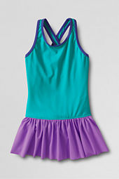 Girls' Smart Swim Colorblock Skirted One Piece Swimsuit