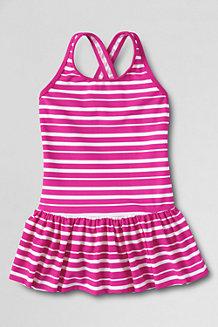 SmartSwim Gemusterer Badeanzug mit Röckchen für kleine Mädchen
