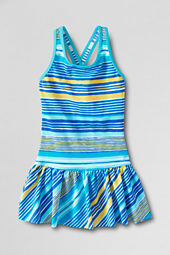 Girls' Smart Swim Pattern Skirted One Piece Swimsuit