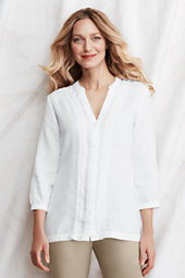 Women's Linen Crochet Trim Shirt