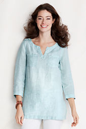 Women's Bracelet Sleeve Pattern 2-pocket Linen Tunic