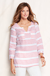 Women's Patterned Two-pocket Linen Tunic
