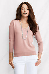 Women's 3/4-sleeve Fine Gauge Supima Picot V-neck Sweater