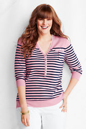 Women's 3/4-sleeve Stripe Fine Gauge V-neck Henley Sweater
