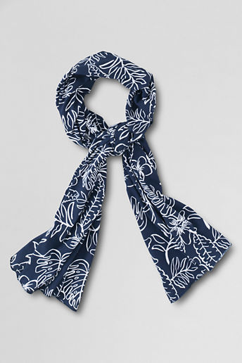 Girls' Knit Pattern Scarf - Midnight Navy Floral,