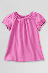 Girls' Short Sleeve Solid Shirred Neck T-shirt