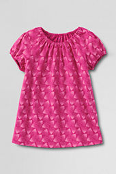 Girls' Short Sleeve Pattern Shirred Neck T-shirt