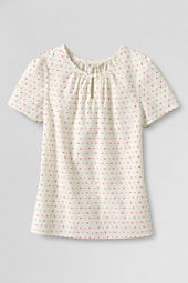 Girls' Shirred Neck Woven Top