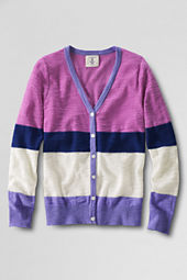 Girls' Lightwieght Pattern Slub V-neck Cardigan