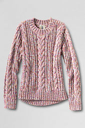 Girls' Open Stitch Cable Sweater