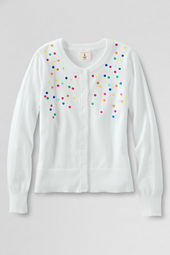 Girls' Embroidered Dot Cardigan