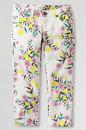 Girls' Pattern 5-pocket Denim Capri Pants