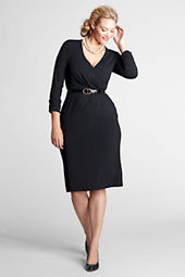 Women's Plus Size Long Sleeve Faux Wrap Dress