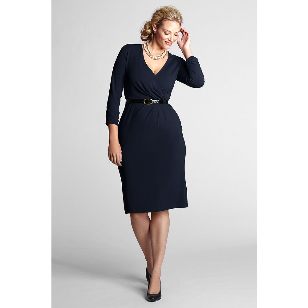 Lands' End Women's Plus Size Petite Long Sleeve Faux Wrap Dress at Sears.com