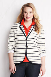Women's Plus Size Striped Double Knit Jacket