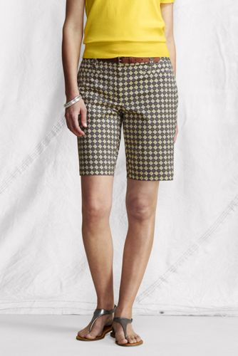 Women's Regular Fit 2 Pattern Stretch Chino Bermuda Shorts - Khaki Print, 8