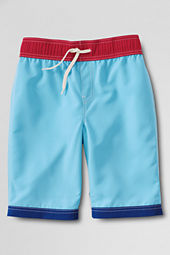 Boys' Contrast Solid Swim Trunks
