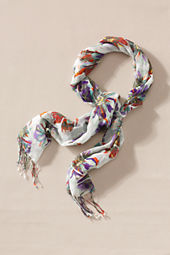 Women's Floral Cotton Voile Scarf