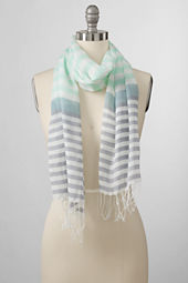 Women's Cotton Voile Multi Stripe Scarf