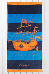 Kids' Pirate Ship Velour Beach Towel