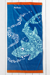 Kids' Shark Velour Beach Towel