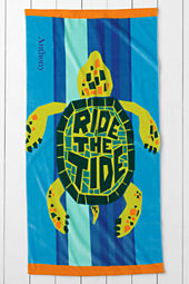 Kids' Turtle Velour Beach Towel