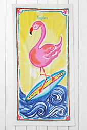 Kids' Flamingo Velour Beach Towel
