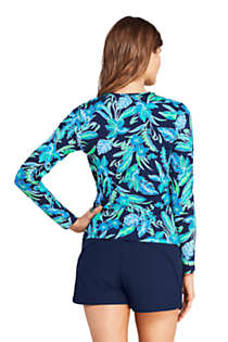 Women's Petite Crew Neck Long Sleeve Rash Guard UPF 50 Sun Protection Modest Swim Tee Print, Back