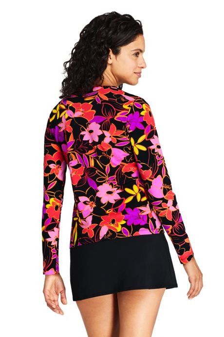 Women's Crew Neck Long Sleeve Rash Guard UPF 50 Sun Protection Modest Swim Tee Print