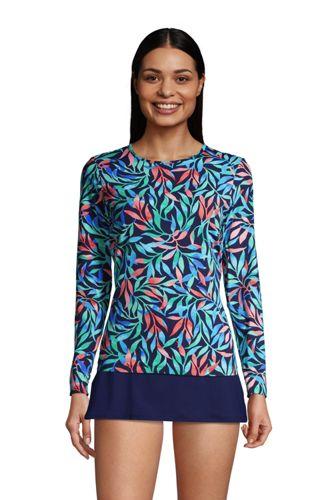T-Shirt de Bain à Manches Longues Imprimé, Femme Stature Standard
