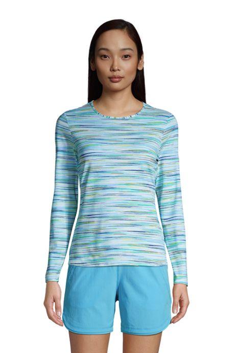 Women's Petite Crew Neck Long Sleeve Rash Guard UPF 50 Sun Protection Modest Swim Tee Print