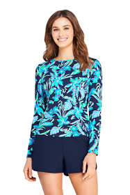 Women's Long Crew Neck Long Sleeve Rash Guard UPF 50 Sun Protection Modest Swim Tee Print
