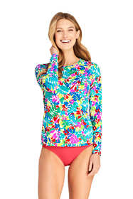 Women's Petite Crew Neck Long Sleeve Rash Guard UPF 50 Sun Protection Modest Swim Tee Print