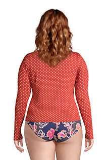 Women's Plus Size Crew Neck Long Sleeve Rash Guard UPF 50 Sun Protection Modest Swim Tee Print, Back