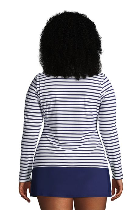 Women's Plus Size Long Long Sleeve Swim Tee Rash Guard Stripe