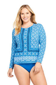 Women's Plus Size Crew Neck Long Sleeve Rash Guard UPF 50 Sun Protection Modest Swim Tee Print