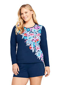 Women's Plus Size Crew Neck Long Sleeve Rash Guard UPF 50 Sun Protection Modest Swim Tee Print