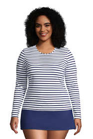 Women's Plus Size Long Sleeve Swim Tee Rash Guard Stripe