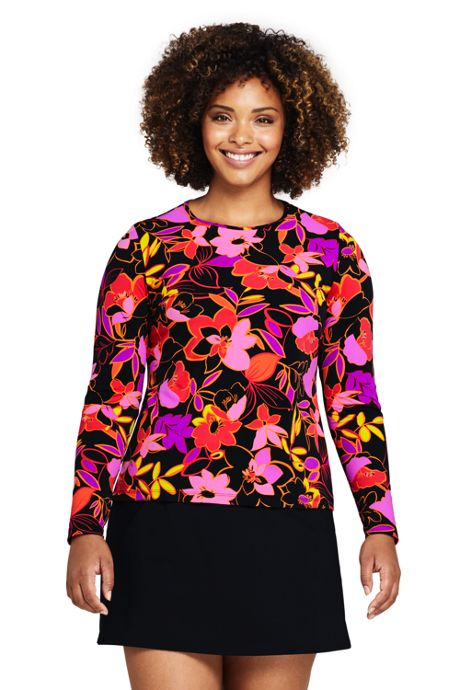 Women's Plus Size Long Crew Neck Long Sleeve Rash Guard UPF 50 Sun Protection Modest Swim Tee Print