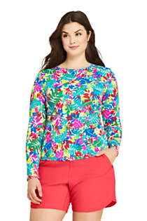 Women's Plus Size Crew Neck Long Sleeve Rash Guard UPF 50 Sun Protection Modest Swim Tee Print, Front