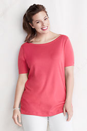 Women's Plus Size Elbow Sleeve Solid 1x1 Drape Boatneck Tunic