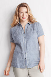 Women's Plus Size Short Sleeve Pattern Button-front Linen Blouse