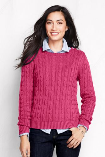 Women's Petite NEW Cotton Drifter Cable Crew Neck Jumper