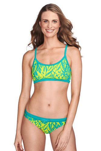 Women's Regular AquaTerra Abstract Floral Twist Back Bikini Top   - Capri Aqua Floral, 6