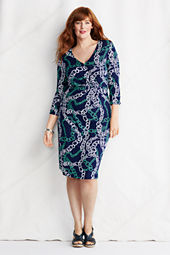 Women's Plus Size Long Sleeve Print Faux Wrap Dress