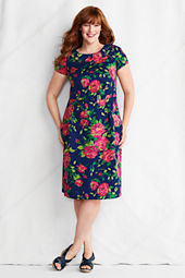 Women's Plus Size Short Sleeve Print Portrait Collar Stretch Pique Dress