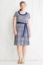 Women's Plus Size Print Cotton Modal Trapunto Scoopneck Dress