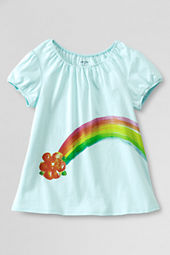 Girls' Shirred Neck Rainbow Graphic T-shirt
