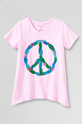 Girls' Short Sleeve Peace Curved Hem Graphic T-shirt
