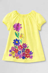 Girls' Shirred Neck Bold Flower Graphic T-shirt